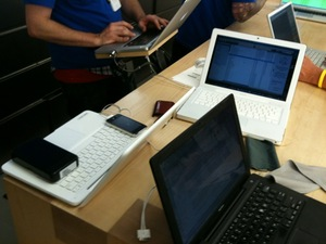 Taking up all the space at the Genius bar...